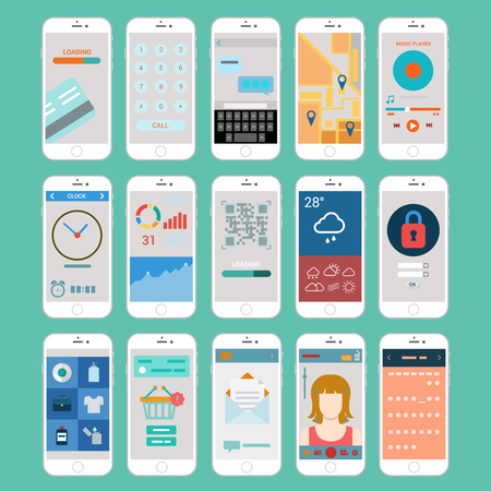 Illustration pour Flat mobile app smart phones user interface application windows modern vector elements collection online payment call sms chat email navigation keyboard weather login qr code checkout infographics. - image libre de droit