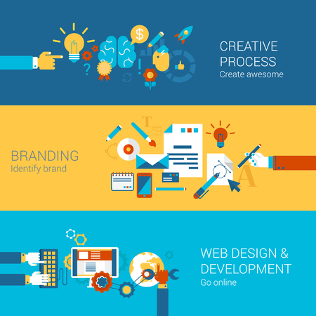Ilustración de Creative process branding web design development process concept flat icons set  and vector web banners illustration print materials website click infographics elements collection. - Imagen libre de derechos