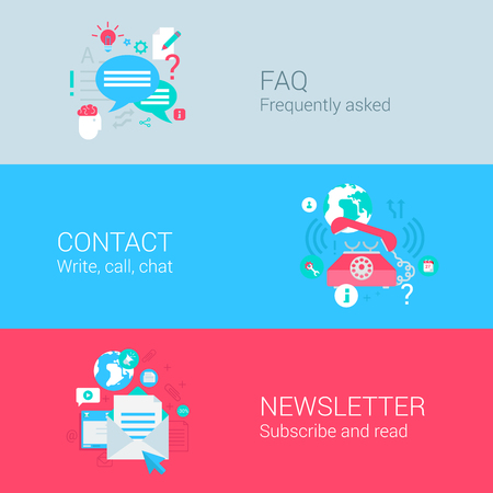 Illustration pour Online support concept flat icons set of FAQ contact phone call newsletter email subscription and vector web illustration website click infographics elements collection. - image libre de droit