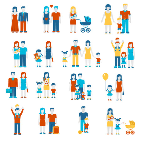 Photo pour Family flat style people figures parenting parents children kids son daughter couple wife husband boy girl infant infographics user interface profile icons set isolated vector illustration collection. - image libre de droit