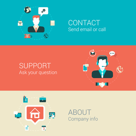 Illustration pour Website webpage category concept flat icons set of contact email call support about company people man helpdesk and vector web illustration web site click infographics elements collection. - image libre de droit