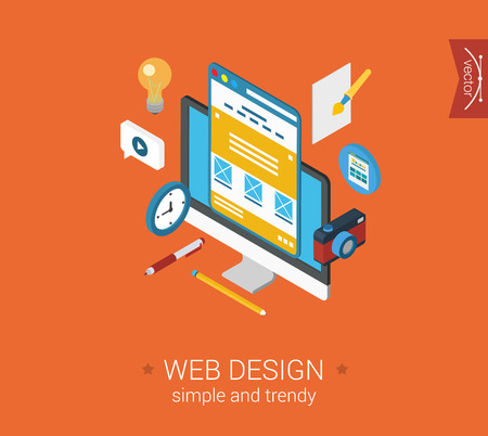 Illustration pour Web design website interface layout flat 3d isometric pixel art modern design concept vector icons collage composition. Desktop objects idea camera. Web banners illustration website click infographic. - image libre de droit