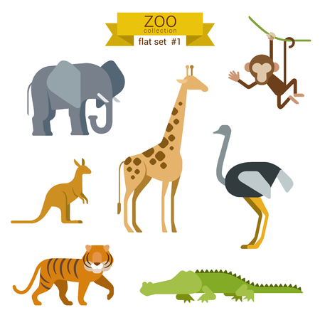 Illustration for Flat design vector animals icon set. Elephant, giraffe, monkey, ostrich, kangaroo, tiger, crocodile. Flat zoo children cartoon collection. - Royalty Free Image