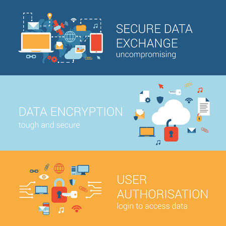 Ilustración de Online internet security concept flat icons banners template set secure data transfer encryption cryptography user authorization lock login vector web illustration website click infographics elements. - Imagen libre de derechos