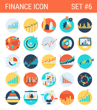 Illustration for Finance infographics flat icons set diagram statistics graphics chart pie report market analysis bar graph stats web click infographic style vector illustration concept collection. - Royalty Free Image