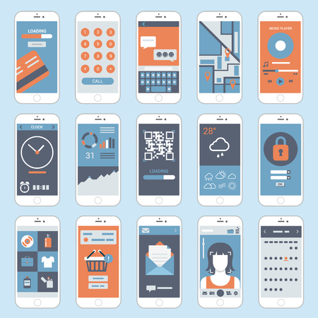 Illustration pour Mobile touch screen phones interface windows vector. Flat style modern elements web site click banner icon ui ux elements. - image libre de droit