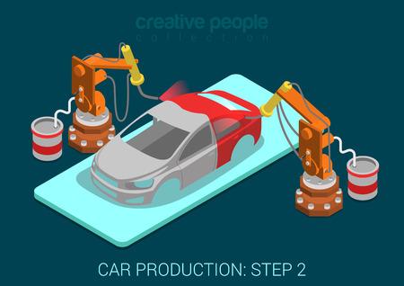 Ilustración de Car production plant process step 2 painting automatic robot works flat 3d isometric infographic concept vector illustration. Spray paint robots in assembly shop. Build creative world collection. - Imagen libre de derechos