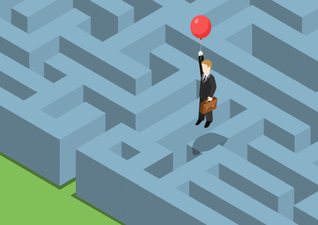 Illustration pour Risk management concept flat 3d web isometric infographic. Labyrinth maze puzzle avoid business problems creative smart solutions. Businessman on balloon flying over obstacles, keep away from crisis. - image libre de droit
