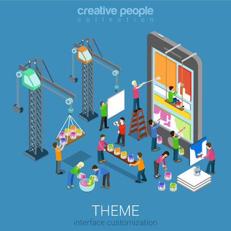 Illustration pour Flat 3d isometric mobile theme user interface customization web infographic concept vector. Crane people painting changing interface on phone tablet. Usability, mockup, wireframe, UI/UX concept. - image libre de droit