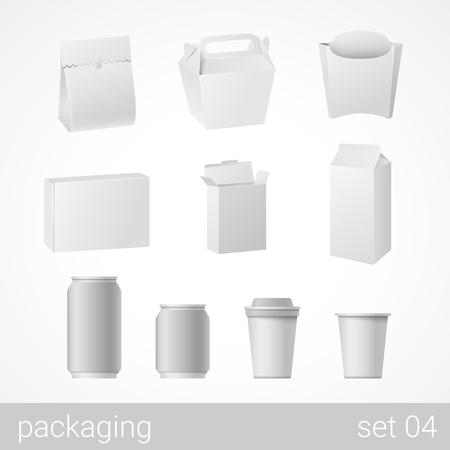 Illustration pour Food and drink plastic, metal, paper and carton cardboard package set. Blank white packaging objects isolated on white vector illustration. - image libre de droit