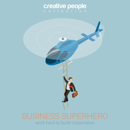 Illustration pour Businessman superhero on helicopter concept flat 3d web isometric infographic vector. Success and leadership, hard work and reward, security service super agent. Creative people collection. - image libre de droit