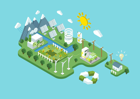 Ilustración de Flat 3d isometric ecology green renewable energy power consumption sustainable development recycling web infographic concept vector. Wind propeller turbine sun battery station eco natural agriculture. - Imagen libre de derechos