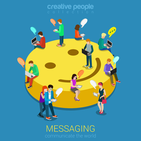 Photo for Chat messaging communication flat 3d web isometric infographic concept vector. Micro young chatting people with electronic devices sitting on big smile podium. Creative people collection. - Royalty Free Image