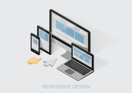 Illustration pour Flat 3d isometric responsive web design infographic concept vector. Webdesign website interface on different device screens. Smart phone tablet laptop desktop office computer arm finger touch cursor. - image libre de droit