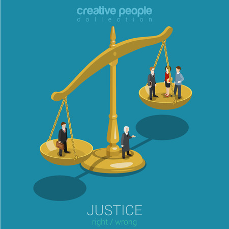 Illustration pour Justice and law, judgment and decision, court session, judicial sitting flat 3d web isometric infographic concept vector. Micro casual people judge bowls of scales. Creative people world collection. - image libre de droit