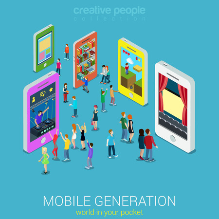 Illustrazione per Flat 3d web isometric mobile generation infographic concept vector. Crowded street between smartphones listening music watching tv movie game play library website surfing. Creative people collection. - Immagini Royalty Free