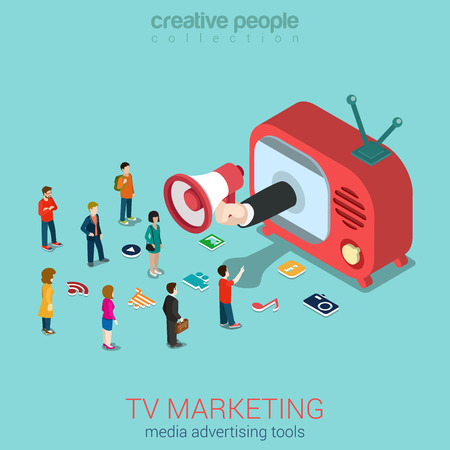 Ilustración de TV marketing advertisement shopping sale flat 3d web isometric infographic concept vector. Hand loudspeaker sticks from retro antenna TV-set micro people and service icons. Creative people collection. - Imagen libre de derechos