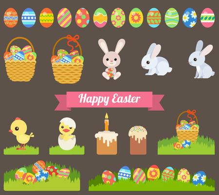 Illustration pour Easter holiday flat style icon set - image libre de droit
