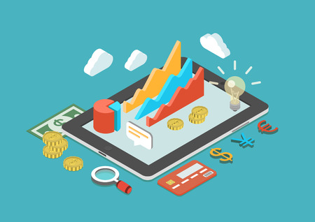 Illustrazione per Flat 3d isometric business analytics, finance analysis, sales statistics, monetary concept infographic vector. Collage icons: chart graphs, tablet, coins, credit card, dollar banknote, currency signs. - Immagini Royalty Free