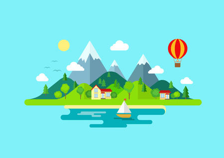 Illustrazione per Travel mountains island landscape and sailing color flat vector icon nature weather concept template. Stylish trendy outdoor tourism rest vacation boat yacht balloon hiking. Flat landscapes collection - Immagini Royalty Free