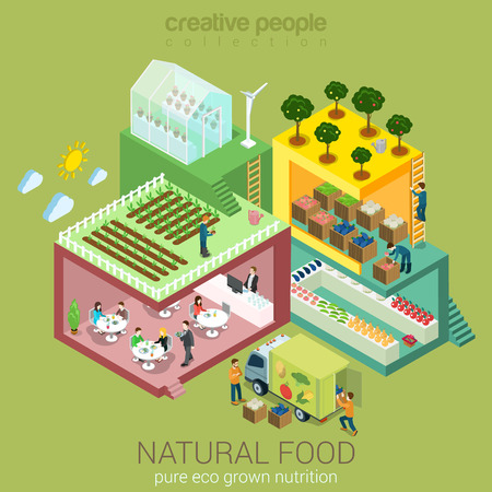 Illustration pour Natural eco food grow harvest market sell cook eat flat 3d web isometric nutrition agriculture infographic vector. Farm field garden greenhouse grocery shop delivery. Creative people collection. - image libre de droit