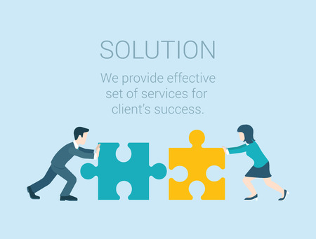 Illustration pour Flat style modern infographic business solution concept. Conceptual web illustration businessman and businesswoman characters connecting puzzle pieces. - image libre de droit
