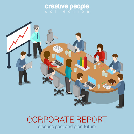 Illustration pour Office meeting room report business collaboration teamwork brainstorming flat 3d web isometric infographic concept vector. Staff around table working with laptop tablet. Creative people collection. - image libre de droit