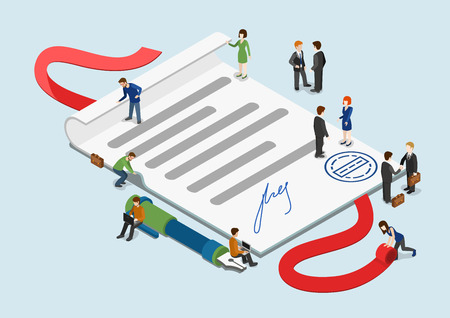 Illustration pour Flat 3d web isometric signed contract and mini people infographic collaboration concept vector. Little business people around overblown paper sheet with stamp and signature. Creative people collection - image libre de droit
