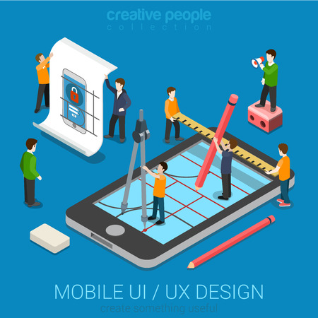 Ilustración de Mobile UI / UX design web infographic concept flat 3d isometric vector. People creating interface on phone tablet. User interface experience, usability, mockup, wireframe development concept. - Imagen libre de derechos