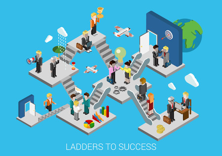 Ilustración de Business start, ladders to success flat 3d isometric design infographic concept template vector illustration. Creation development growth movement insurance partnership HR target trophy promotion. - Imagen libre de derechos