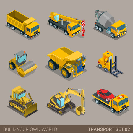 Foto de Flat 3d isometric city construction transport icon set. Excavator crane grader concrete cement mixer roller pit dump truck loader tow wrecker truck. Build your own world web infographic collection. - Imagen libre de derechos