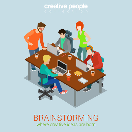 Ilustración de Brainstorming creative people flat 3d web isometric infographic concept vector. Advertising agency work process. Teamwork around table laptop, chief, art director, designer, programmer. - Imagen libre de derechos