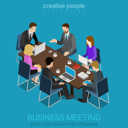Illustration pour Business meeting room team collaboration flat 3d web isometric infographic concept vector. Businesspeople around table working with laptop tablet. Creative people collection. - image libre de droit