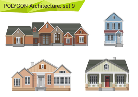 Illustration pour Polygonal style residential houses and buildings set. Countryside and suburb design elements. Polygon architecture collection. - image libre de droit