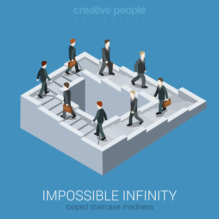 Illustration pour Vicious circle stalemate infinite loop flat 3d web isometric infographic business concept vector. Impossible fairy maze fable nonexistent pathway staircase optical illusion. Creative people collection - image libre de droit