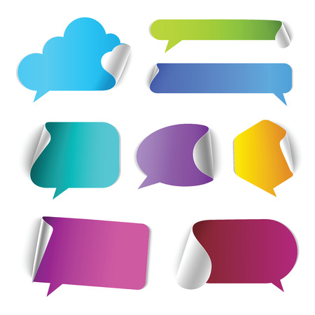 Illustration pour Stylish chat call out box border page curl vector web element icon set. Different style of conversation colorful internet design elements. - image libre de droit