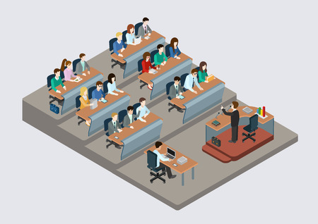 Ilustración de Business training education concept flat 3d web isometric infographic vector. People in auditory listening to lecture teacher. Creative people collection. - Imagen libre de derechos