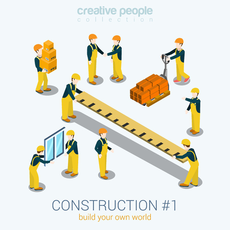 Photo pour Construction builders people set flat 3d web isometric infographic concept vector. Yellow uniform building constructor worker staff brick box ruler window. Build your world creative people collection. - image libre de droit