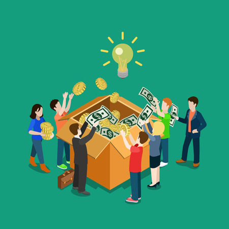 Ilustración de Business idea crowdfunding volunteer concept flat 3d web isometric infographic vector. Group of people putting money to box. Crowd funding process illustration. Creative people collection. - Imagen libre de derechos