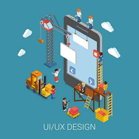 Illustration pour Flat 3d isometric mobile UI/UX design web infographic concept vector. Crane people creating interface on phone tablet. User interface experience, usability, mockup, wireframe development concept. - image libre de droit