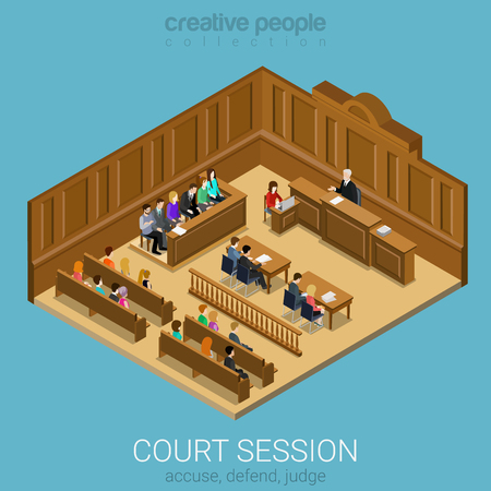 Illustration pour Court jury session room concept flat 3d web isometric infographic vector. People in auditory listening to lecture teacher. Creative people collection. - image libre de droit