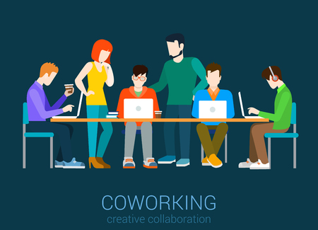 Ilustración de Coworking flat web infographic concept vector. Co-working group of people by the table. Office agency work process. Creative people collection. - Imagen libre de derechos