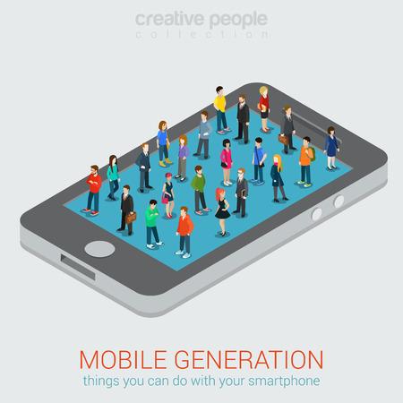 Illustration pour Mobile generation micro people isometric concept - image libre de droit
