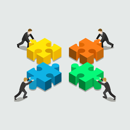 Illustration pour Business solution in partnership concept flat 3d web isometric infographic vector. Four businessmen pushing pieces of puzzle. Creative people collection. - image libre de droit