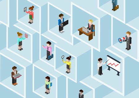 Illustrazione per Flat 3d isometric business people professional diversity web infographic concept vector. Different professions businessman businesswoman in square room slots wall. Secretary, manager, bookkeeper etc. - Immagini Royalty Free