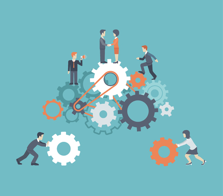 Illustration pour Flat style modern teamwork, workforce staff infographic concept. Conceptual web illustration of business people on cog wheels. Corporate company ladder of success leadership, human resource management - image libre de droit