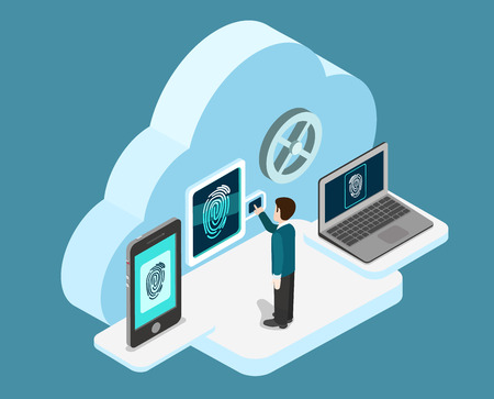 Ilustración de Biometric fingerprint identification internet cloud authentication flat 3d web isometric creative infographic concept vector. Security, secure data access. Touch screen tablet phone and laptop. - Imagen libre de derechos