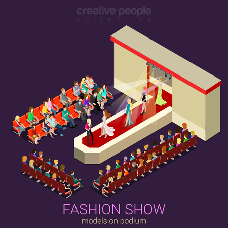 Ilustración de Fashion show podium defile flat 3d isometric web infographic template vector. Female photo models walking on scene demonstrating new clothes dress and expert auditory. Creative people collection. - Imagen libre de derechos