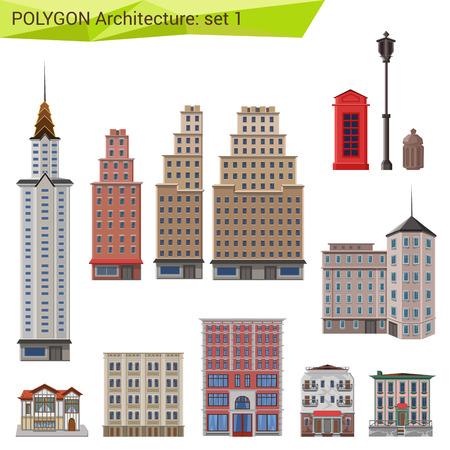 Illustration pour Polygonal style skyscrapers and buildings set. City design elements.  Polygon architecture collection. - image libre de droit