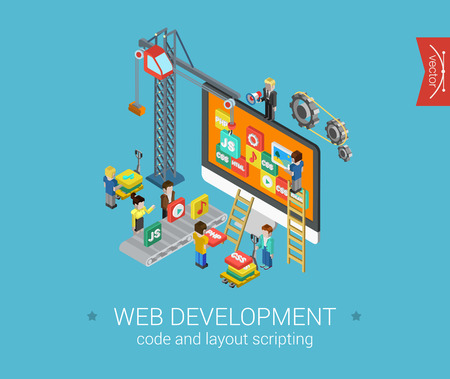 Illustrazione per Flat web development 3d isometric modern design concept vector icons composition. Crane, desktop icons, php, html, javascript (js), css and gears. Flat web illustration infographics elements. - Immagini Royalty Free
